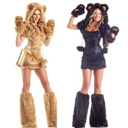 $enCountryForm.capitalKeyWord Canada - Wholesale- new fashion Multicolor high quality Halloween cosplay Costumes Sexy lion plush animals loaded Temptation Set