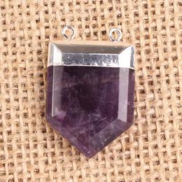 Amethyst Opal Pendant NZ - Various Opal Rock Crystal Natural Gem Stone Royal Shield Double Hook Pendant Charm Point Healing Chakra Amulet Fashion Jewelry 10pcs