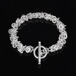 custom bezel wholesale 2019 - Free Shipping with tracking number Top Sale 925 Silver Bracelet folk-custom Bracelet Silver Jewelry 10Pcs lot cheap 1568