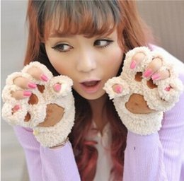 Soft fingerleSS gloveS online shopping - Fluffy Bear Cat Plush Paw Claw Glove Novelty Halloween soft toweling lady s half covered gloves mittens