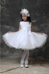 Organza Wraps For Wedding Dress Canada - Lovely Lace Flower Girls Dresses for Wedding Ribbon Ruffles A Line Anke-Length Skirts Little Girl Pageant Dresses For Kids 2015