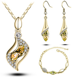 $enCountryForm.capitalKeyWord NZ - Cheap Jewelry Sets Crystal Bracelets Necklaces and Drop Earrings Sets Unique Design Wedding Jewelry Set for Bridal G206