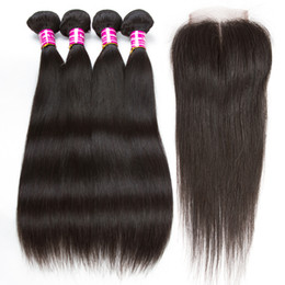 Chinese  New Arrival Brazilian Human Hair Wefts with Closure Straight Remy Peruvian Virgin Hair Bundles and Top Lace Closure Ponytail Hair Extensions manufacturers