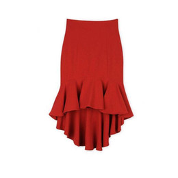 $enCountryForm.capitalKeyWord UK - 2016 New Summer Skirt Women Sexy High Waist Skirt With Fish Tail Short Before Long After Casual Skirt For Girl Black And Red YEU