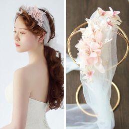 Nuovo copricapo fiore coreano Handmade fascia per la testa velo da sposa accessori matrimonio piatto capelli gioielli per capelli