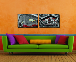 canvas church paintings Canada - 2 Pieces Free shipping Home decoration Paint on Canvas Print old house Red window Steam train automobile Sports car church European building