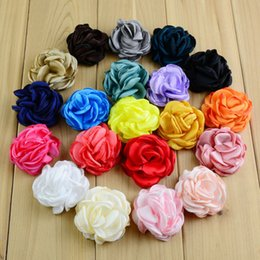 Hair Color Edges Australia - 20 Pcs  Lot 2 Inches Satin Flower Burned Edges Satin Rose Hair Flower Brooch Pin Fabric Flowers