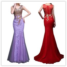 Barato Roupão Preto Vermelho Sexy-Robe De Soiree 2018 Mermaid V-neck Tulle Appliques Lace Black Red Purple Sexy Long Prom Dresses Prom Gown Evening Dress