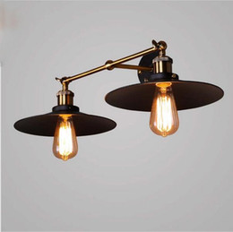 Discount rustic wall light fixtures - LED vingage wall sconces doubule heads wall lights E27 retro lighting fixture AC110-240V Copper Plated Lamp Rustic Sconc