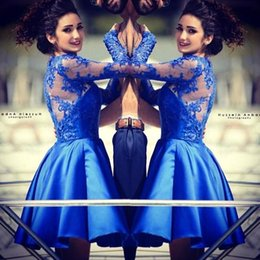illusion formal dress navy blue 2019 - Long Sleeves Winter Formal Evening Dresses Jewel Neckline Arabic Lace Top Knee Length Prom Short Party Dresses BO8357 di