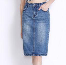 Free Shipping 2018 New Fashion Knee Length Denim Skirt Plus Size S-3XL  Female Autumn Slim Hip Pencil Skirts For Women High Quality Hot Sale de0b26e02551