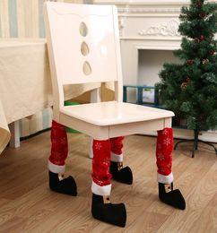 $enCountryForm.capitalKeyWord Australia - 40 *21cm Christmas Chair Leg Foot Cover Snowflake Printed Table Christmas Decoration for Party Dinner Red Desk Cover Decor 4PCS = 1set