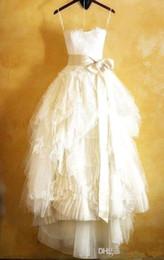 $enCountryForm.capitalKeyWord NZ - Vintage Full Lace Wedding Dresses Tea Length 2019 Straplesss Appliques A Line Organza Ruffle Summer Spring Beach Bridal Gowns Custom Made