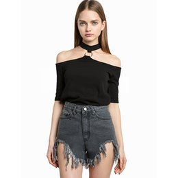 Women T Shirt Off Shoulder Sexy Hollow Out Summer Punk Tumblr Clothing Cropped Feminino Black Tops For Shirts