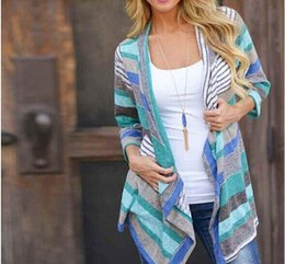 $enCountryForm.capitalKeyWord Canada - Women Spring New Cardigan Boho Outwear Knitted Jacket Coat Tops Loose Sweater Casual Striped Tops Clothes for Female