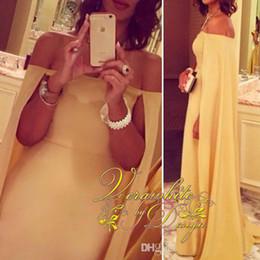 $enCountryForm.capitalKeyWord NZ - Gorgeous Yellow Prom Dresses Cloak Watteau Train Party Formal Evening Gowns Arabic 2016 Occasion Dress Sheath Off-Shoulder Celebrity Dresses