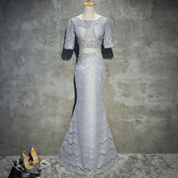 transparent sleeve prom dresses NZ - Really Photo Full Grey Lace O-Neck Half Sleeve Transparent Waist Zipper Mermaid Flloor Length Appliques Beaded Long Prom Party Dresses