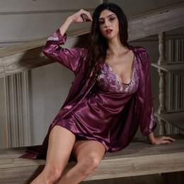 Barato Terno De Saia De Mulher Roxa-2017 New Women Silk Robe Feminino Sexy Sling Lingerie Set Lace Purple Red Nightgowns Sleeping Dress Skirt Suit 2 peças Nightwear