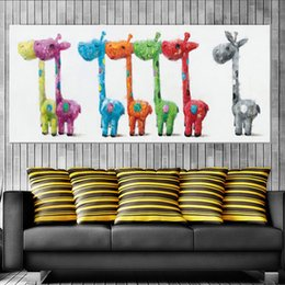 mural paintings oil Australia - Cartoon Animal Cute Giraffe Hand-painted Oil Painting on Canvas Mural Art Picture for Office Bedroom Wall Decoration