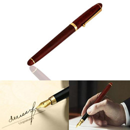 $enCountryForm.capitalKeyWord NZ - Fashion Stylish 0.5mm Red Rosewood Wooden Medium Iridium Nib Fountain Pen For Gifts Decoration Writing Office Student Teachers