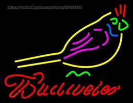 Parrot disPlay online shopping - Budweiser Parrot Bird Neon Sign Custom Real Glass Beer Bar KTV Club Store Shop Home Decoartion Art Display Advertisement Neon Signs quot X14 quot