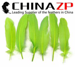 Dyed Goose Feathers Wholesale Canada - Leading Supplier CHINAZP Crafts Factory 10~15cm(4~6inch) Top Quality Dyed Lawn Green Loose Goose Wing Feathers for Christmas Decorations
