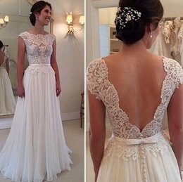 Barato Vestido Da Curva Da Parte Traseira Do Chiffon-Vintage Lace Summer Beach Wedding Dresses 2017 Cap Sleeve A Line Sexy Back com Bow A Line Chiffon Cheap Bridal Gowns Custom