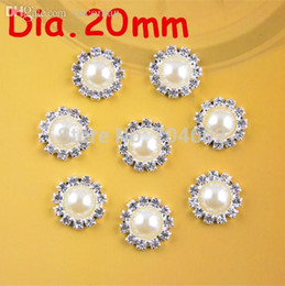 flat back buttons Canada - Wholesale-20mm round metal rhinestone pearl button flat back wedding embellishment hair bow alloy button DIY hair accessory 100pcs PJ05