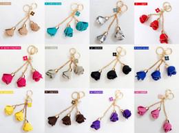 Crystals Souvenir Australia - Keychains for Car Keys Men Couples Lovers Gifts Women Handbag Wholesale Rose Flowers Pendant Keychain Crystals Charms Set Souvenirs Mixed