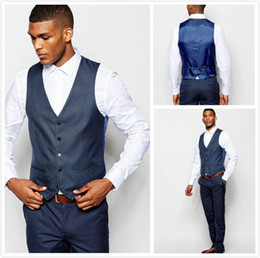 two piece waistcoats Canada - Two Pieces Navy Blue Waistcoat and Pants for Groomsmen with Satin Back Handsome Wedding Suits Custom Made Groom Tuxedos (Vest+Pants)