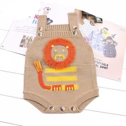 Barato Bonito Mamilos Para Toddlers-Everweekend Baby Boys Meninas Knitted Lion Sweater Rompers Brown Gray Color Cute Toddler Baby Autumn Spring Clothing