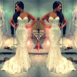 Barato Baile De Formatura Barato-Major Beading Mermaid Prom Dresses Luxo Beaded Sweetheart Sweep Train Vestidos de festa de Natal 2K15 Custom Made Cheap Online For Sale