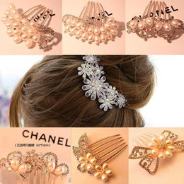 $enCountryForm.capitalKeyWord Canada - Bridal Gold Plated Alloy Pearl Rhinestone Crown Flower Butterfly Peacock Diamond Pearl Hair Clasp Accessories Jewelry Hair Combs Hairpins