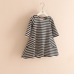 classic european dress Australia - Baby Girl Classic Vintage Black White Striped Casual Dress 3 4 Sleeves Boat Neck Dress