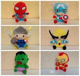 spiderman stuffed animals 2019 - Cute Avengers 2 Stuffed Animals Plush Toys Iron Man Spiderman American Captain Hawkeye Thor Hulk 6 styles Doll For Child