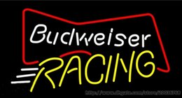 """Race Glasses NZ - Budweiser Bowtie Racing Neon Sign Real Glass Tube Beer Bar Disco KTV Club PUB Motel Hotel Advertisement Sport Game Neon Signs 17""""X14"""""""