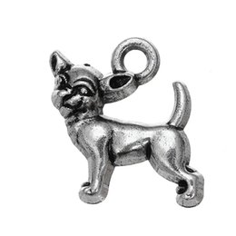 d56b74098 Free shipping New Fashion Easy to diy 30Pcs Chihuahua Dog Animal Charms  Metal Antique Silver Filled Single Side jewelry making fit for neckl