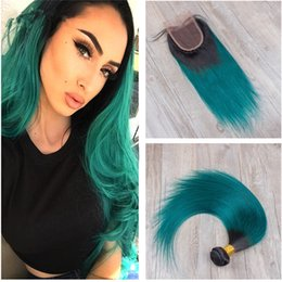 two tone straight closure NZ - 8A Peruvian Ombre Hair Bundles with Lace Closure Two Tone 8A 1B Dark Green Straight Ombre Hair Weaves with Top Closure 4Pcs Lot