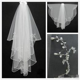 $enCountryForm.capitalKeyWord UK - New Fashion White Ivory 2019 Short Two Layers With Comb Bridal Veils Wedding Accessories Free Shipping Beaded Edge Crystal Fashion