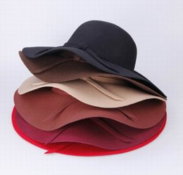 Chapeau D'été Écrasant Pas Cher-Femmes Laine Bowknot Band Floppy Hat Large Bord Capable Series Caps Mode Lady Summer Beach Feutre Trilby Cap 3pcs / lot DII * 3