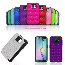 S6 Hard Crystal Edge NZ - Premium Dual Layer Bag Crystal Hybrid Spot Bling Diamond Combo Hard Case For Samsung Galaxy S6 edge 11 Colors Hot Sale Protector Case 20pcs