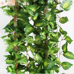 Fake Vine Foliage Canada - 15% off 2015 New Home decoration 2.6M Artificial Ivy Leaf Garland Plants Vine Fake Foliage Flowers Fake Green plant,drop shipping 10pcs