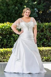 taffeta design short gown 2019 - 2014 Latest Design A Line Plus Size Wedding Dresses With Capped Sleeve New Long Princess Bridal Gowns W1349 Beaded Sheer