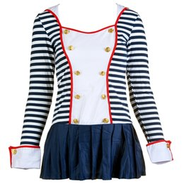 Barato Marinheiro Marinheiro Mulher Vestidos-Sailor Suit Outfit Dress Sexy Uniform Mulheres XXXL Plus Size Stripped Long Sleeve Hat Conjuntos Erotic Lingerie Role Play Jeu De Role Robe Navy