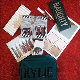 Cajas De Sombras Baratos-Kylie Candy Christmas Big Box Cosmetics Holiday Collection paquete sombra de ojos lápiz labial highlight spice sugar lipkit nice travieso sombra de ojos