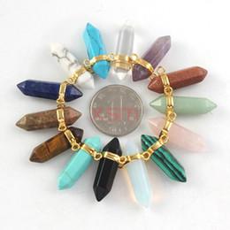 $enCountryForm.capitalKeyWord Australia - 10psc Mix Color Hexagon Prism Pendant,Gem Stone Healing Chakras Pendant, Gold Plated Double Clasp Connector Pendant Fit Necklace