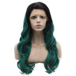 $enCountryForm.capitalKeyWord UK - Long Wavy Ombre Dark Green Lace Front Synthetic Wig