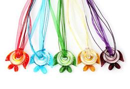 $enCountryForm.capitalKeyWord UK - wholesale 6pcs handmade mix color Italian venetian 3D Transparent Fish Lampwork murano glass pendant 3+1 silk necklaces