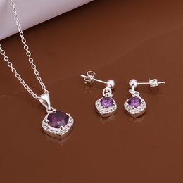 $enCountryForm.capitalKeyWord Australia - High grade 925 sterling silver Piece inlaid Purple Gem jewelry sets DFMSS543 brand new Factory direct sale wedding 925 silver