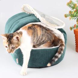 $enCountryForm.capitalKeyWord NZ - Soft Corduroy Winter Warm Small Pet New Born Dog BB Cat's Kennel Puppy Hamster Rabbit Kitten's House Closed Dual Use